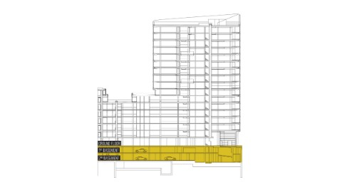 Graphic of Building section with underground floors and parking highlighted.