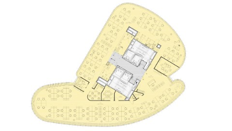 Graphic of floor plan one tenant.