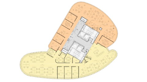 Graphic of floor plan two tenants.