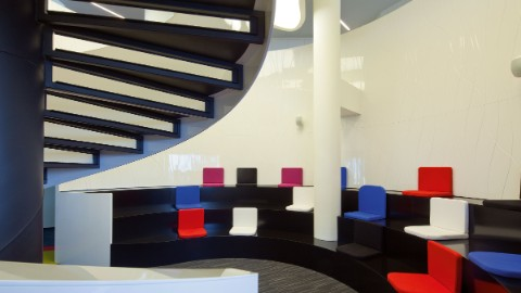 Picture 4: Colourful interior of office spaces at Zebra Tower, Warsaw.
