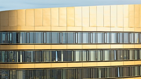 Picture 2: Detailed view on gold and glas façade of the Zebra Tower.